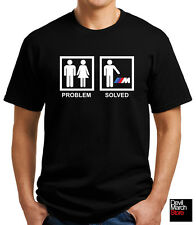 "New ""Problem Solved"" BMW Funny T-shirt Black/White"