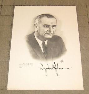 1960s-LBJ-Lyndon-Johnson-034-I-will-do-my-best-034-Ink-Art-Promotional-5x7-034-Card