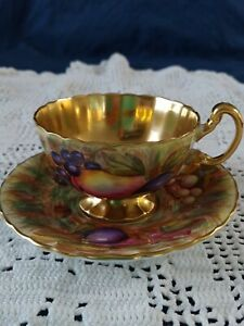 Aynsley-TeaCup-and-Saucer-Orchard-Pattern-GOLD-Signed-D-Jones