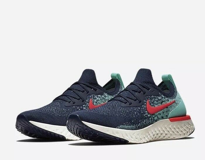 NIKE MENS SZ 10 EPIC REACT FLYKNIT College Navy Hyper Jade Sail Red AR5413-400