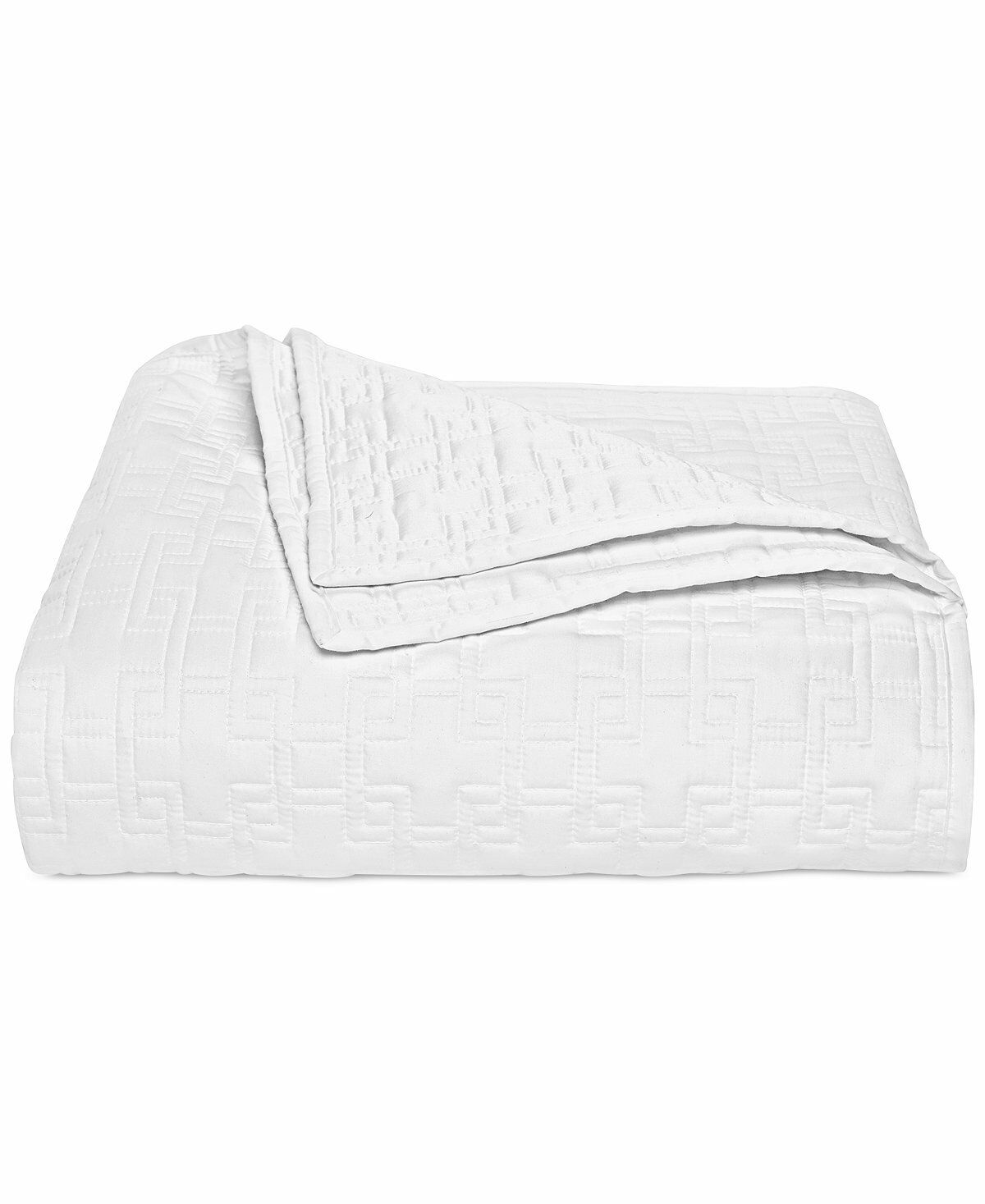 Hotel Collection Embroidered Frame Quilted Full Queen Coverlet White F5005