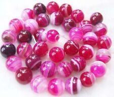 "8mm Pink Stripe Agate Onyx Gem Round Loose Bead 15"""