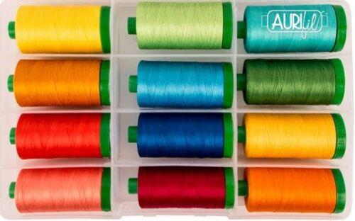 Aurifil FLORIDA ORANGES Collection-12 Lg 40 Wt Thread 100/% Cotton Egyptian Mako