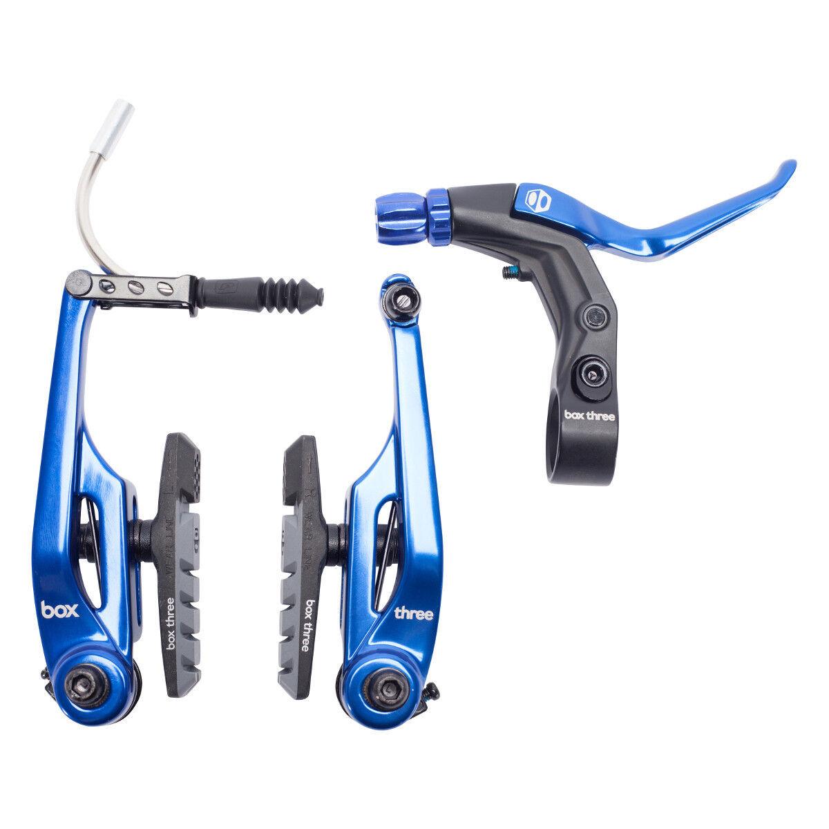BRAKE KIT BOX THREE V Caliper 108mm wLEVER blu AND CABLE LONG BMX