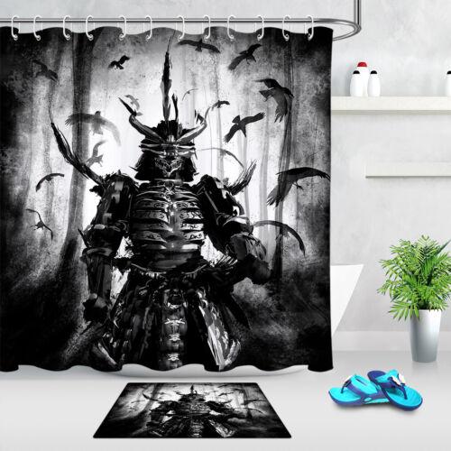 Japanese Demon Armored Warrior Shower Curtain Waterproof Fabric Bathroom Hooks