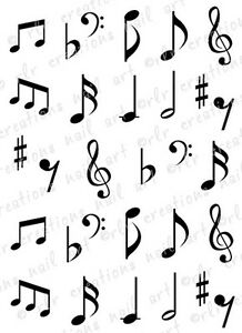 30 Music Notes Or Music Staff With Notes Water Slide Nail Art Decals
