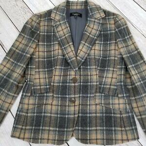Talbots-Wool-Blend-Plaid-Blazer-Jacket-Womens-4-Gray-Tan-Lined-Soft