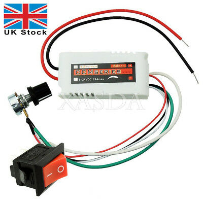 DC 2A PWM Motor Speed Control Controllor For Fan Pump Oven Blower+Switch *UK