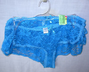 2 pr JOE BOXER size M Boy Short Lace Panties sheer Turquoise Blue M