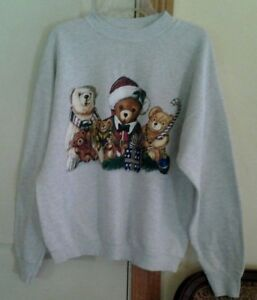 Fruit-of-the-Loom-Adult-XL-Light-Gray-Sweatshirt-Christmas-Bears