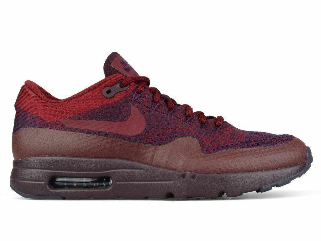 Nike Maroon Purple Flyknit Air Max 1 9.5 supreme 1 95 97 720 off white 8 9 10 11
