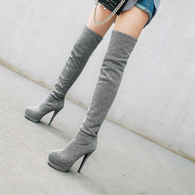Womens Sexy Platfrom Over The Knee Thigh High Boots Ladies Fashion shoes Plus SZ