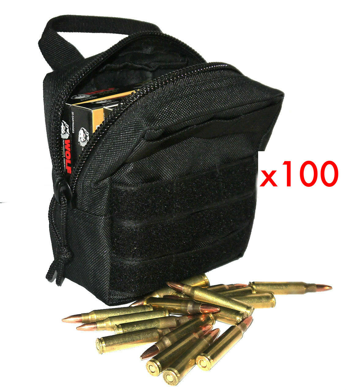 (100) .223 REMINGTON AMMO MODULAR MOLLE UTILITY POUCHES FRONT HOOK LOOP STRAP