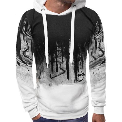 Mens Warm Long Sleeve Hoodie Sweatshirt Camo Gradient Hooded Jumper Sweater Coat
