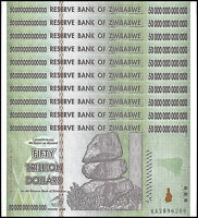 Zimbabwe 50 Trillion Dollar Banknote X 10 PCS, 2008, AA Series, NEW