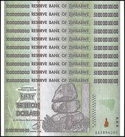 Zimbabwe 50 Trillion Dollar Banknote X 10 PCS, 2008, AA Series, NEW
