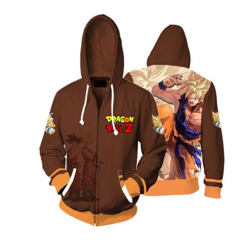 Anime Dragon Ball Z Thin Hoodie Funny Tops Full Zip Coat Fashion Sweatshirt