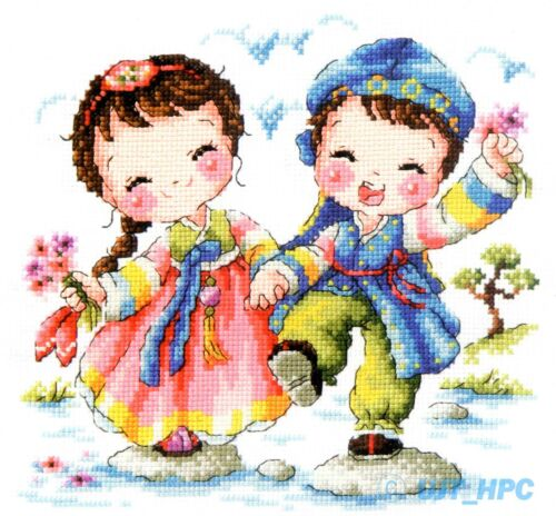 """/""""The Korean traditional couple on the stepping stone/"""" Cross stitch chart.SO-3161"""