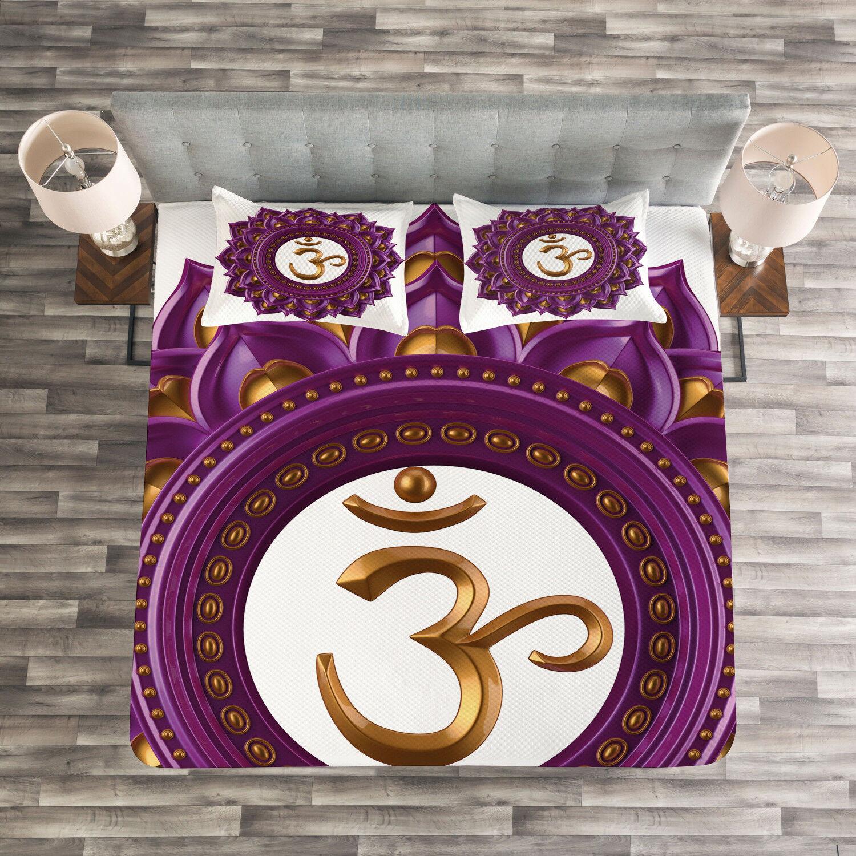 Purple Quilted Bedspread & Pillow Shams Set, Chakra Symbol Mandala Print