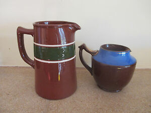 2 brown bluegreen old jugs - <span itemprop=availableAtOrFrom>Taunton, United Kingdom</span> - 2 brown bluegreen old jugs - Taunton, United Kingdom