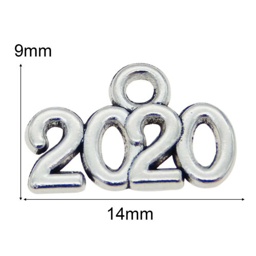 100pcs//lot Vintage Silver 2020 Word Alloy Pendant Charms DIY Jewelry Accessories