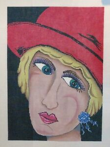 Patti-Mann-Nancy-Gordon-Lady-in-Red-Hat-Handpainted-Needlepoint-Canvas
