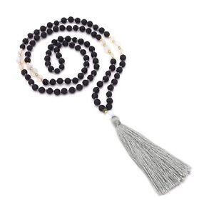 Pietra LAVICA catena-BOHO collana da donna nere con perline di vetro e torta 80 cm
