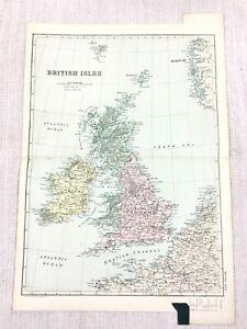 1892 Antik Map Of Die Britische Inseln England UK Original 19th Jahrhundert G W