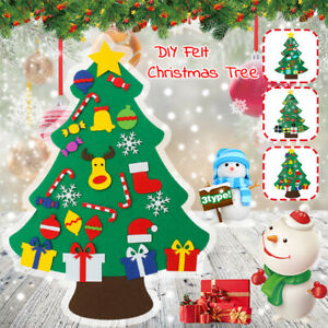 DIY-Felt-Christmas-Tree-Set-Wall-Hanging-Ornaments-Kids-Xmas-Gifts-F-F