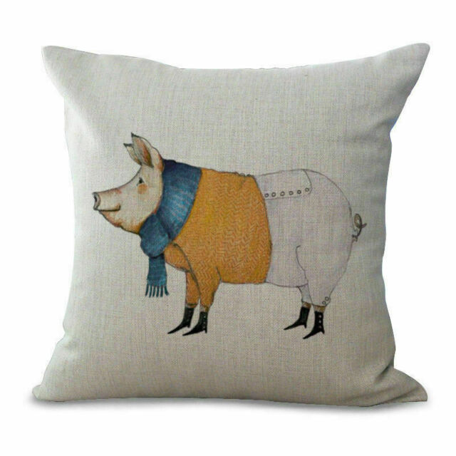 "Sofa Square Waist 18/"" Pig Printed Cotton Linen Throw Pillow Case Cushion Cover"