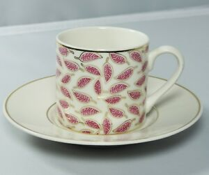 Turkish-Anatolian-Porcelain-Coffee-Set-with-Pink-Leaf-Design-Great-Gift