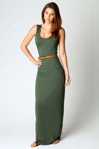 Ladies Stretchy Bodycon Sleeveless Plain Racer Back Vest Womens Long Maxi Dress