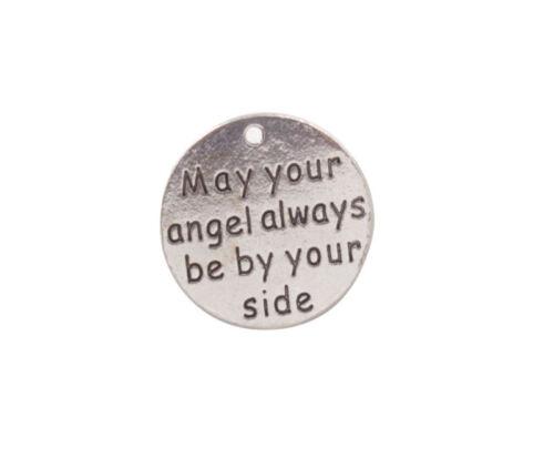 10PCS//30PCS peut ton ange toujours être à vos côtés mots Ronde Charm #92008