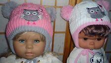 Warme Bommel Mütze 2  Bommel kleine Eule Rosa , innen Fleece 1,5-3 Jahre