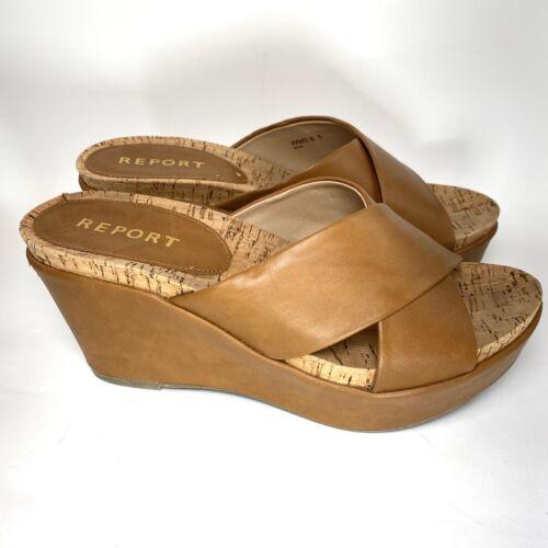 Details about  /REPORT Cork Sandals Size 8.5 Wedge Heels Brown Platform Shoes