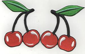 1SETOF EXTRA LARGE   RED CHERRIES IRON ON  PATCHES BUY 2 sets GET 3