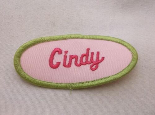 CINDY USED EMBROIDERED VINTAGE SEW ON NAME PATCH  ASSORTED COLORS AVAILABLE