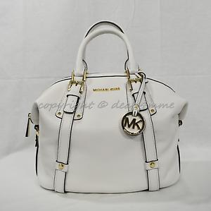 Details about NWT Michael Kors Bedford Belted Medium Leather SatchelShoulder Bag Optic White