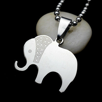 Silver Tone Stainless Steel Elephant Charm Pendant Necklace W/ Ball Chain 60CM