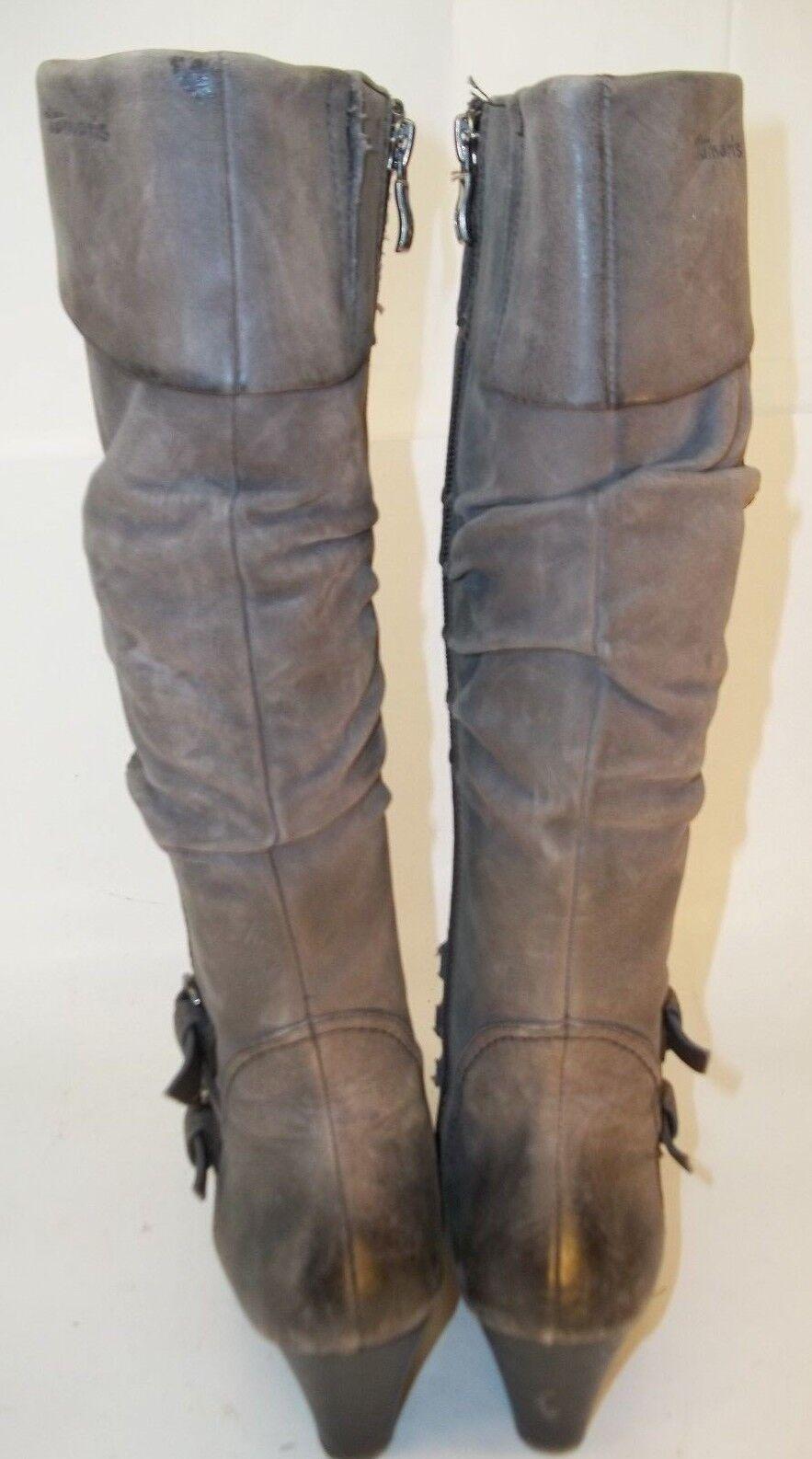 Tamaris Mujeres botas De Alto EU 37 gris gris gris Cuero Cremallera Hebilla Slouchy Tacones 2393 fc589a