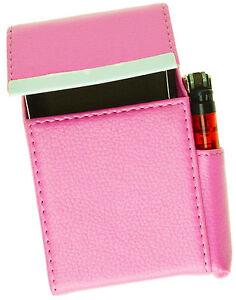 Pink-Cigarette-Hard-Case-Leather-Lighter-Smoke-100-039-s-Regular-Holder-Men-Lady