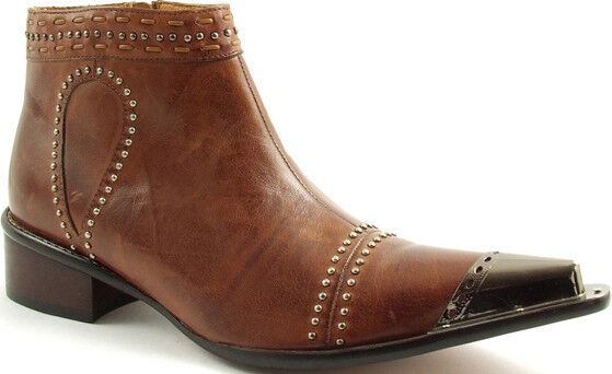 Men's Gucinari Tan Brown Metal Toe Studded Leather Pointed Boots UK Size 12