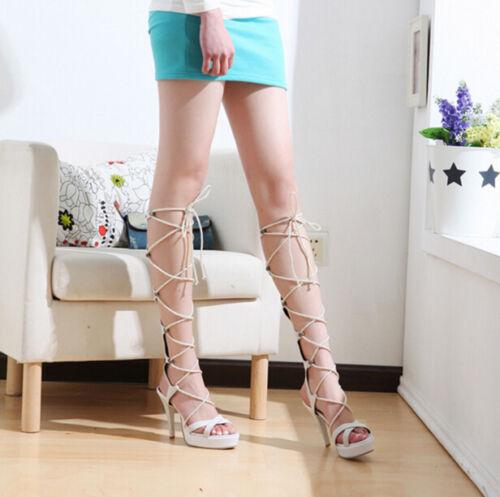 stylish women/'s roma lace up nightclub high heel shoes knee high sandles A12