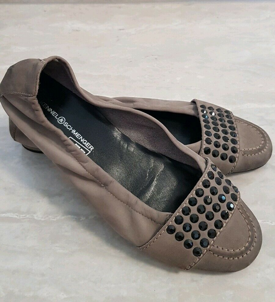 Kennel & Schmenger K S Swarovski Elements Leder 40 Ballerinas Schuhe  Taupe