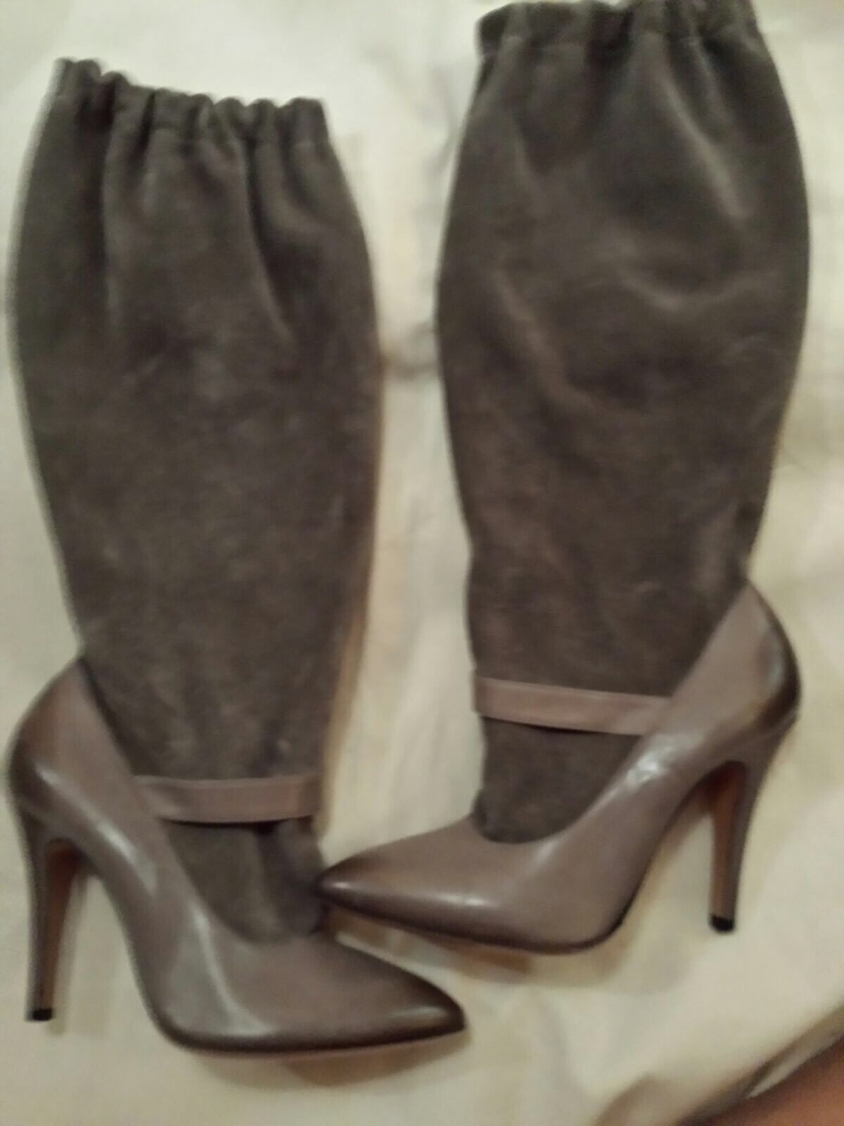 MMM Margiela Mary Jane Illusion Boots Suede Leather 37.5 Made In  Rare BN
