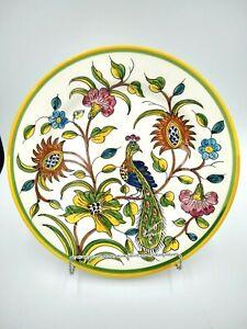 Noble-Excellence-GREEN-BIRD-Charger-Plate-12-034-Portuguese-Earthenware-Peacock