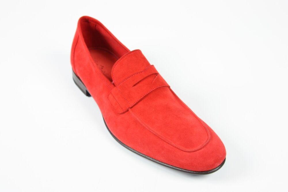 Sutor Mantellassi Zapatos  10   11 nos Suave Rojo De Gamuza Penny Mocasines