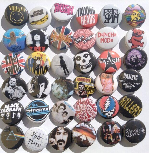 Rock retro buttons 80s 90s lot punk grunge music pins
