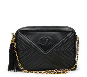 f68ffd8339479 Image is loading CHANEL-BLACK-CHEVRON-QUILTED-LAMBSKIN-VINTAGE-TIMELESS -FRINGE-
