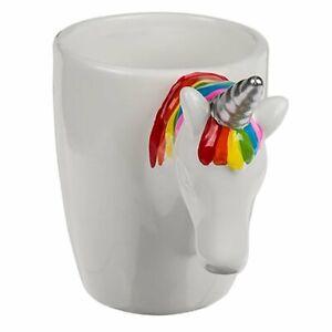 Out of the Blue White Ceramic Mug Unicorn Head Grip OOTB